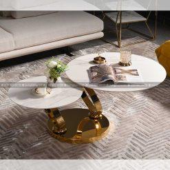 Bàn trà sofa đôi mặt kính xoay tròn vô cực LVH-C909C