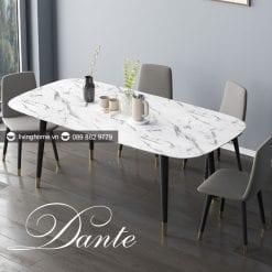 bàn ăn mặt đá marble cao cấp Dante