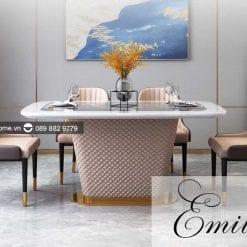 bàn ăn mặt đá marble cao cấp emilio
