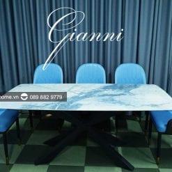 bàn ăn mặt đá marble cao cấp Gianni
