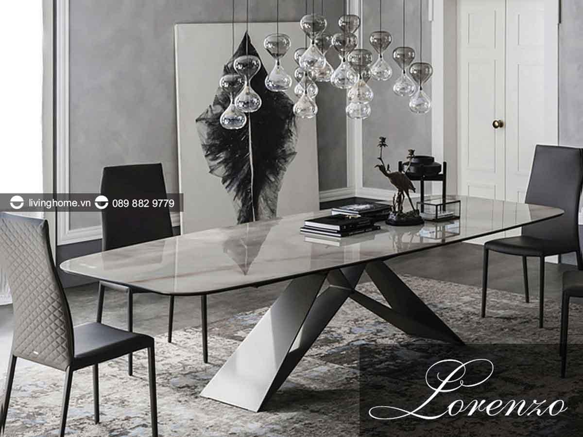 bàn ăn mặt đá lorenzo cao cấp phong cách ý