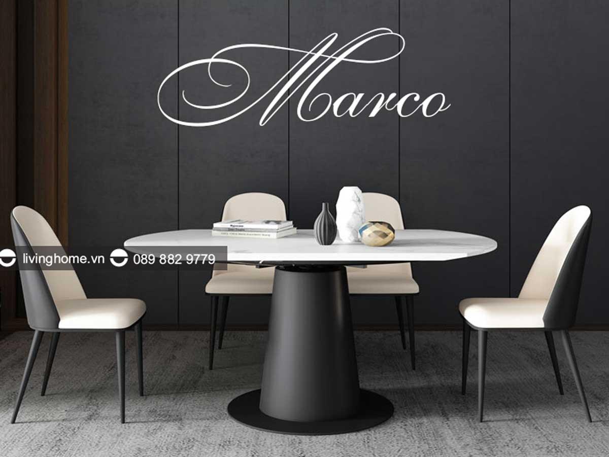 bàn ăn thông minh mặt đá có thể xếp gọn Marco