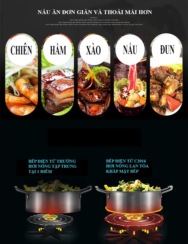 bàn ăn thông minh có bếp từ c119