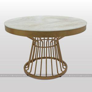 bàn trà tròn chân sắt mặt kính