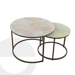 bàn trà đôi mặt kính chân sắt