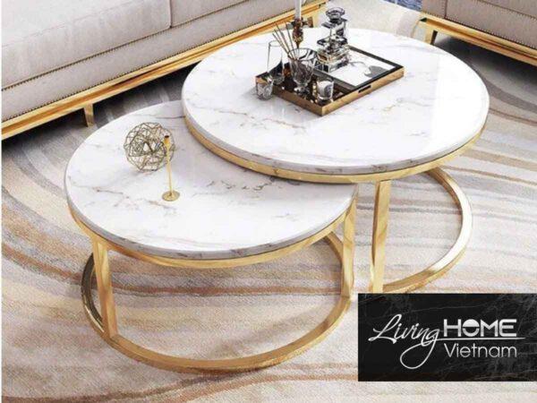 bàn trà mặt đá chân inox ma vàng