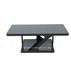 bàn trà mặt kính đen chân thép Z120