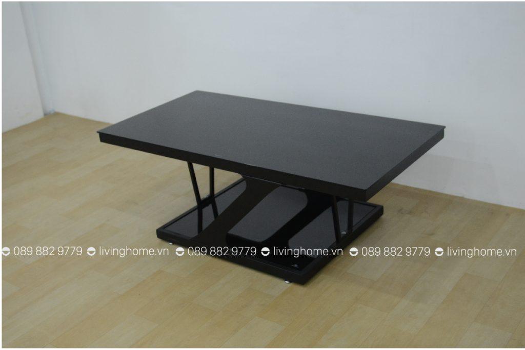 bàn trà chân sắt mặt kính đen Z120